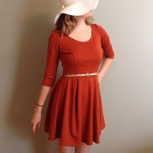 Orange knit 3/4 sleeve dress