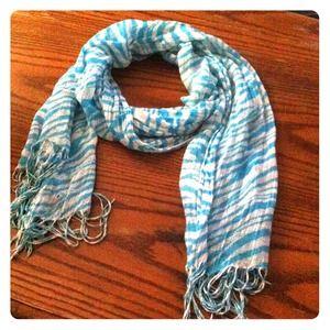 Accessories - Light blue zebra scarf