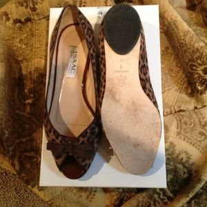 9418a72f0d3e Isaac Shoes | Leopard Print Peep Toe Flats | Poshmark
