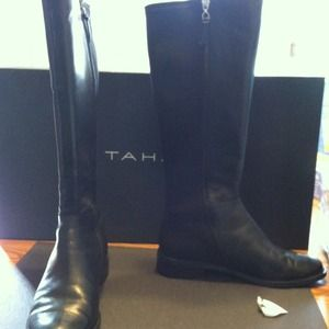 Tahari brand new Black leather upper riding boots.