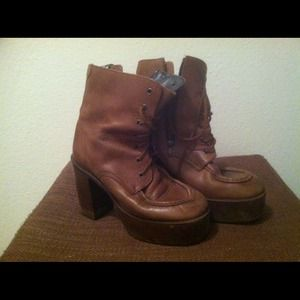 Dark brown leather wedge boots