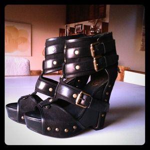 Ash leather platform sandals