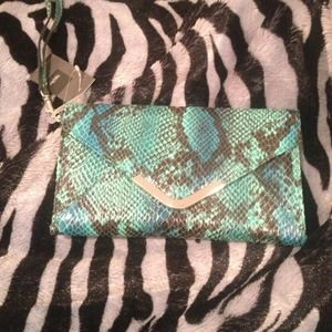 Turquoise & blue snake skin clutch