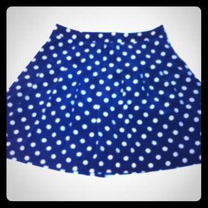 J Crew navy and white polka dot skirt, size 4