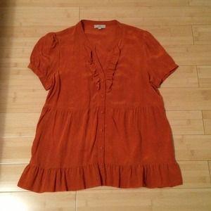 Joie - Orange ruffle short sleeve blouse