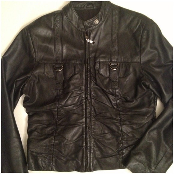Jackets & Blazers - Cropped pin tucked front Leather jacket 4