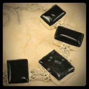 .925 Snowflakes Obsidian Gemstone - NWOT