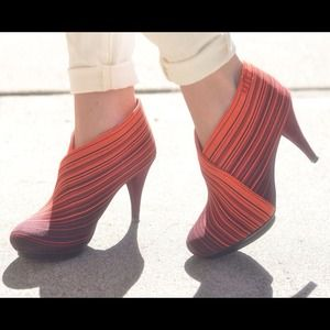 REDUCED! Neon woven stripe booties