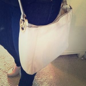 MK white leather crossbody