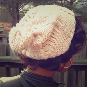 Lucky Brand..Tan and Brown knit pompom hat