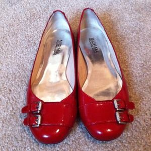 Red Michael Kors Flats With Buckle Size 7
