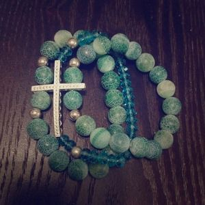 Handmade Accessories - Turquoise Crystal Silver Cross Triple Bracelet