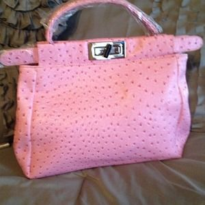 New faux leather pink ostrich skin handbag