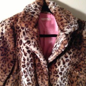 Ombré Leopard Print Coat (Faux Fur)