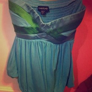 NWOT BEBE turquoise and green tube top
