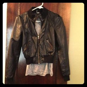 H&M Jackets & Blazers - Small H&M faux leather bomber jacket
