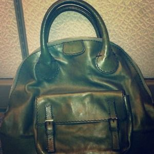 Chloe Edith Olive Green leather bowler handbag