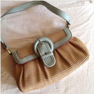 Cute clutch shoulder purse. Natural grass w aqua