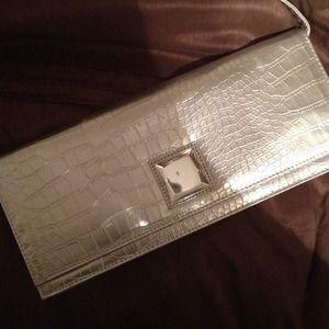 New Silver Jeweled Clutch