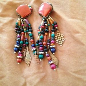 Stone and beaded earrings Clip on with Leather