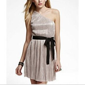 Express gold pleated one shoulder holiday dress