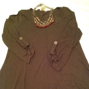 RESERVED: Anthropologie Army Green 3/4 Shirt