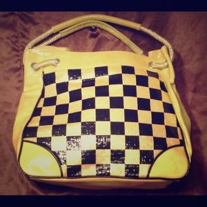 Black and yellow handbag