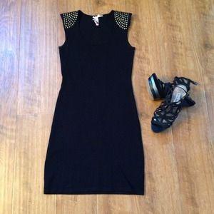 Dresses & Skirts - !!Sold!! Black knit studded shoulder dress