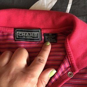0455e7975 Chams De Baron Tops - Vintage Pink Striped Geek Chic Retro Polo Shirt