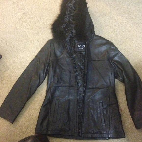 81% off izzi Outerwear - Izzi leather jacket with fur hood from Samanthau0026#39;s closet on Poshmark