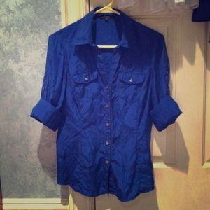 Cobalt / Electric Blue Silk Button Down Blouse