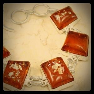 Sterling Silver Honey Amber bracelet - NWOT