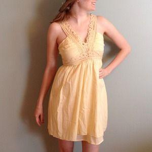 """Light """"butter"""" yellow crochet strap dress"""