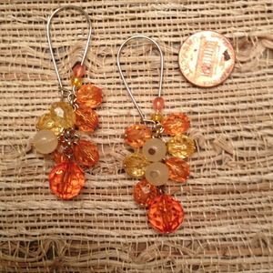 (*) Orange cluster drop earrings