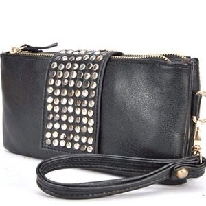 Handbags - Studded Black Clutch