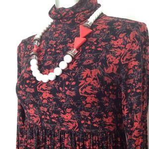 floral turtleneck mini dress tunic