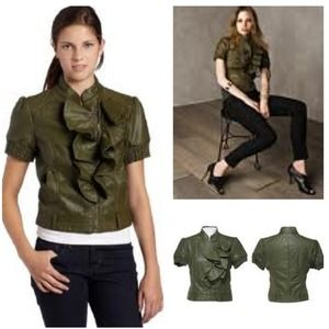 Xoxo olive green ruffle leather moto jacket