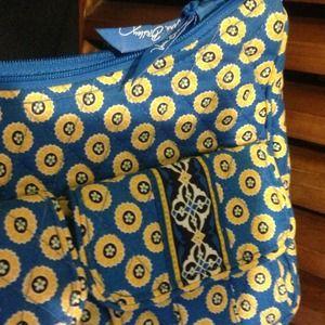 Blue and Yellow Floral Fabric Handbag