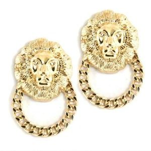 Jewelry - ⛔❌SOLD❌⛔ Gold lion head door knocker earrings