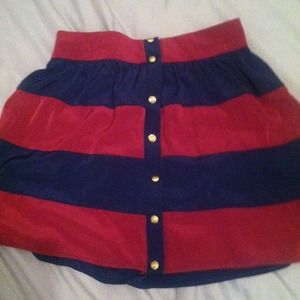 must have Dresses & Skirts - Sold!!! bundled! Plum and navy striped silky skirt