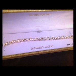 Jewelry - 18k gold plated, diamond accented bracelet.
