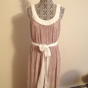 Tahari champagne Grecian maxi dress! New!