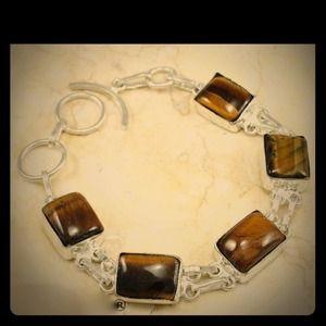 .925 Tiger's Eye gemstone SS bracelet - NWOT