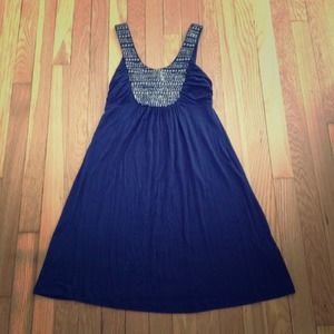 Soprano Dresses & Skirts - Navy and Gold Bead Shirt Dress Size X-Small/Small