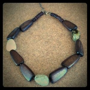Jewelry - Natural wood and polished stone necklace