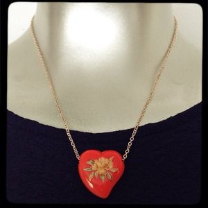 orange heart & flowers necklace