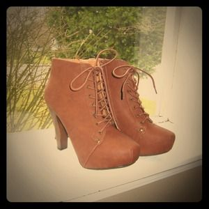 Cognac Lace-Up Booties