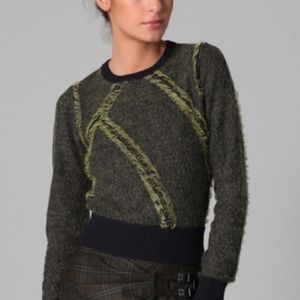 L.A.M.B. Sweaters - L.A.M.B. Clip Knit Crew Neck Sweater navy/lime