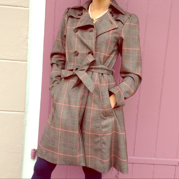 Classic Trench Coat Brown & Pink Plaid Lk New