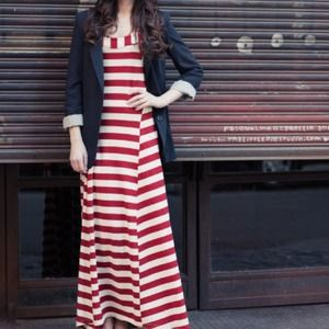 Anthropologie split stripe maxi dress.